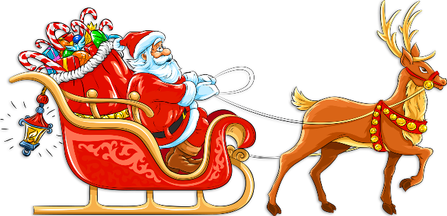 Transparent_Santa_with_Sleigh_and_Deer_Clipart