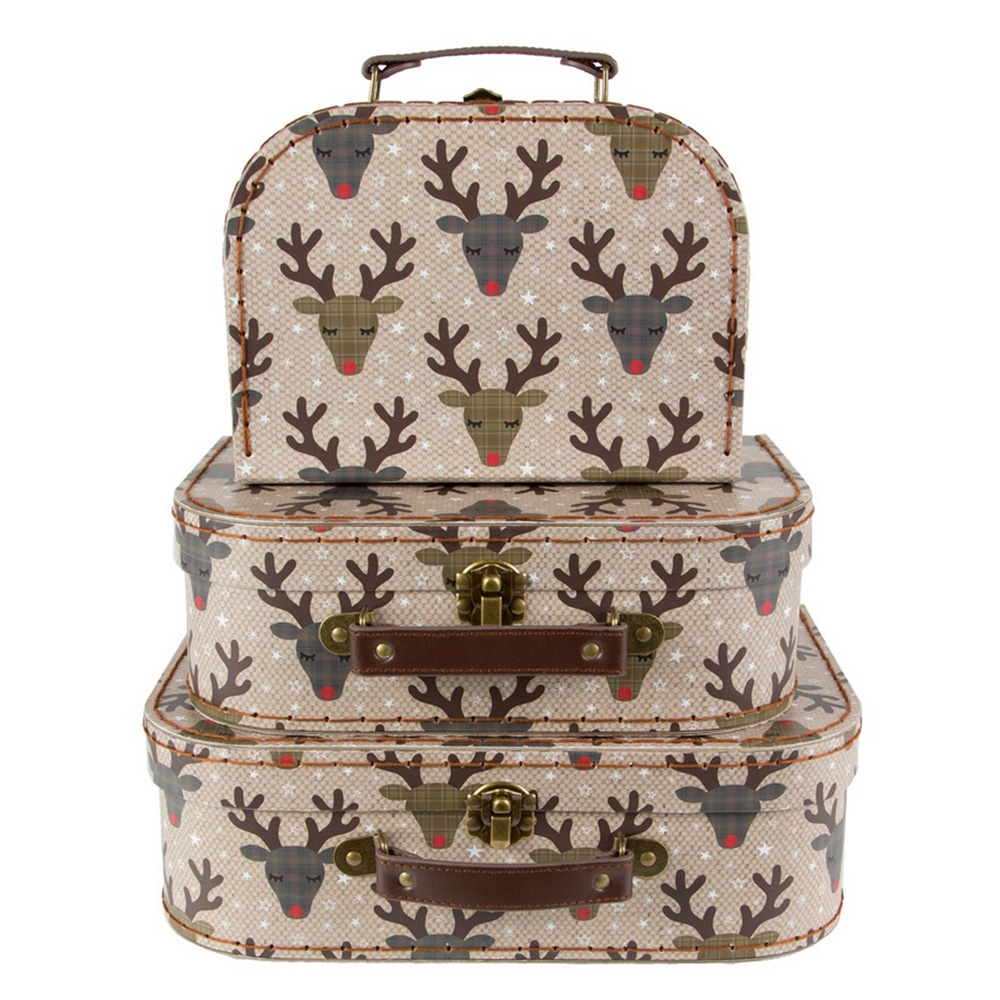 Christmas Reindeer Suitcases x 3 - Presents / Decoration - Luck & Luck – www.luckandluck.co.uk – RRP AU$31.03