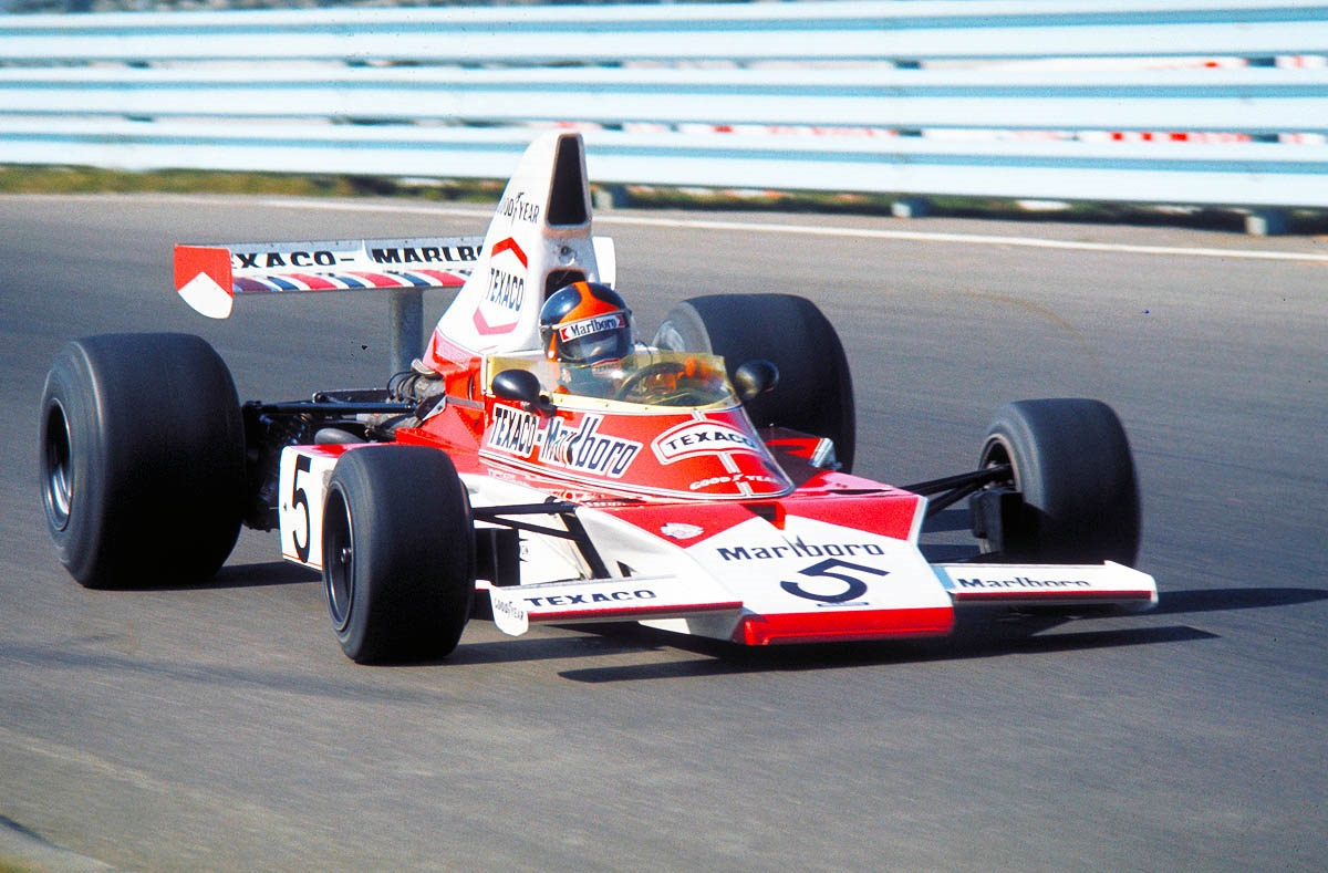 US Grand Prix Watkins Glen NY 1974. Emerson Fittipaldi winning race in McLaren Ford. CD#0776-3301-4373-15.