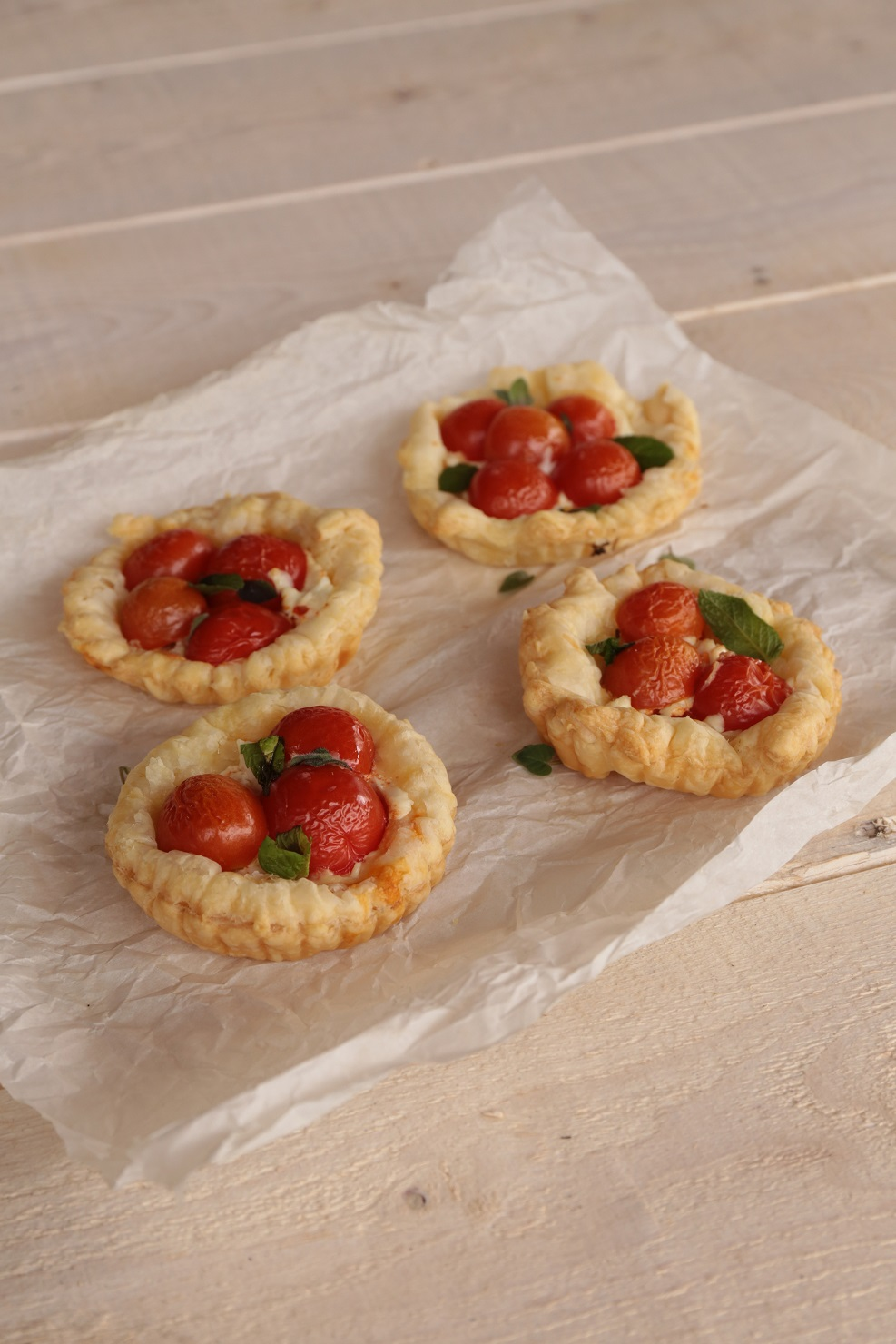 Cherry Tomatoes with Soft Cheese in Puff Pastry
